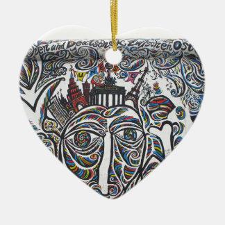 East Berlin Wall Graffiti Ceramic Heart Decoration