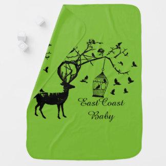 East Coast baby Christmas deer bird tree green Pramblanket