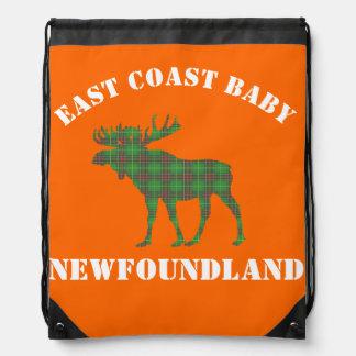 East Coast Baby Newfoundland moose Tartan Travel Drawstring Bag