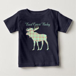 East Coast Baby plaid mint Moose Baby T-Shirt