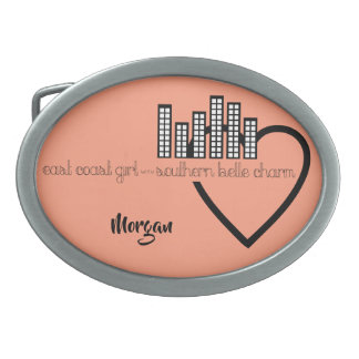 East Coast Girl with Southern Belle Charm Oval Belt Buckles