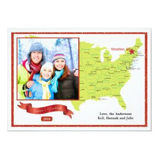 East Coast Holiday Photo Map 13 Cm X 18 Cm Invitation Card