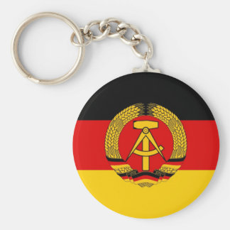 East German Flag Basic Round Button Key Ring