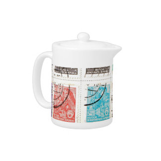 East German Postage Stamps Teapot