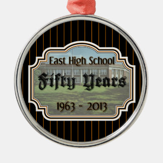 East High School Fifty Years Reunion Pinstripe Orn Silver-Colored Round Decoration