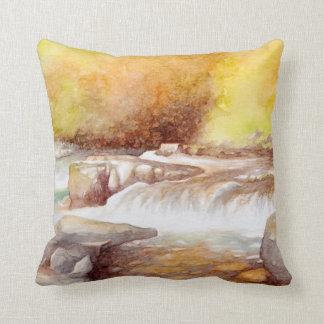 East Lyn river waterfalls Throw Pillow