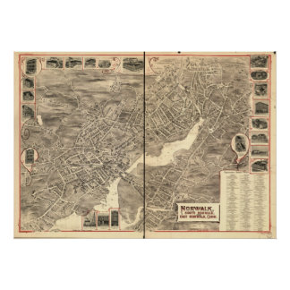 East Norwalk Conn. 1899 Antique Panoramic Map Poster
