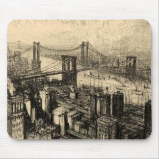 East River Bridges New York City Vintage Mouse Pad