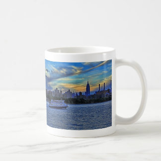 East River View of Sunset Over the NYC Skyline Basic White Mug