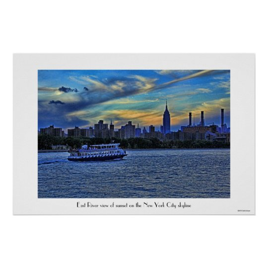 East River View of Sunset Over the NYC Skyline Poster