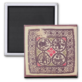 East Roman Empire tapestry showing wild beast Square Magnet