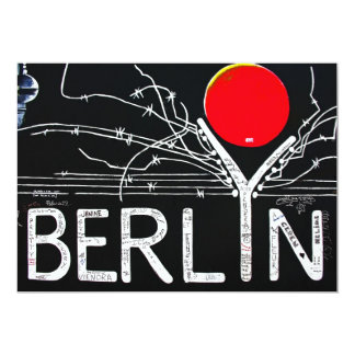 East Side Gallery, Berlin Wall, Barbed Wire/Red Su 13 Cm X 18 Cm Invitation Card