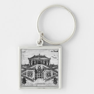 East side of the Palace of the Calm of the Sea, Ga Silver-Colored Square Key Ring