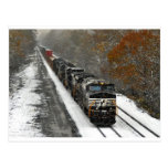 Eastbound Stack Train in Snow Postcard