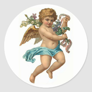 Easter Angel Vintage Easter Classic Round Sticker