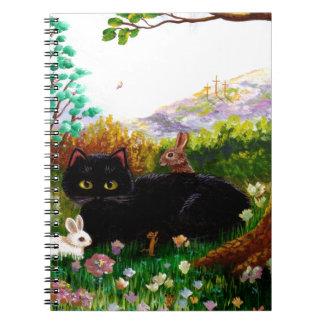 Easter Art Black Cat Mouse Christian Creationarts Notebook