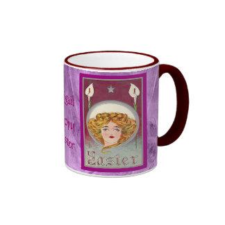 Easter ~ Art Nouveau Woman & Lilies Ringer Mug