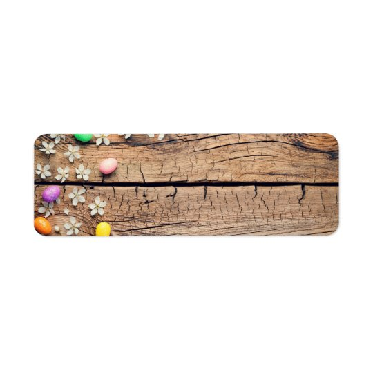 Easter Background with Blossom and Eggs on Wood
