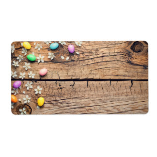 Easter Background with Blossom and Eggs on Wood Shipping Label