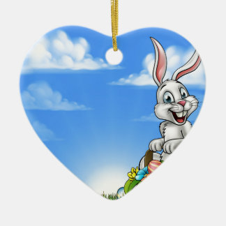 Easter Background with Bunny and Eggs Ceramic Heart Decoration
