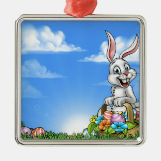 Easter Background with Bunny and Eggs Silver-Colored Square Decoration