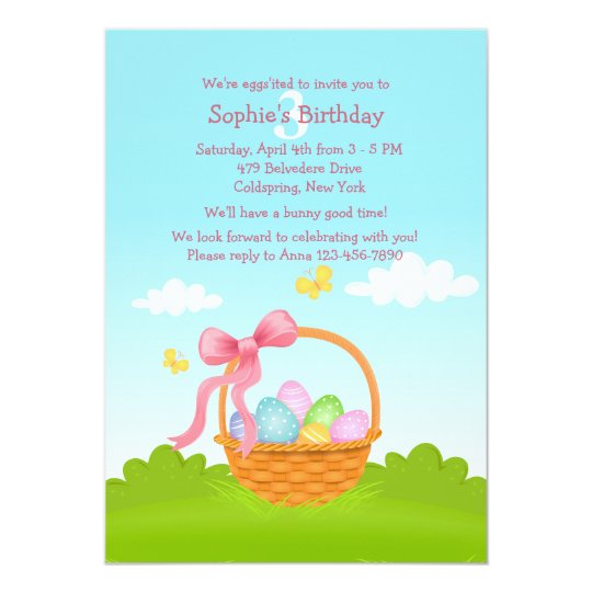 Easter Basket Birthday Invitation
