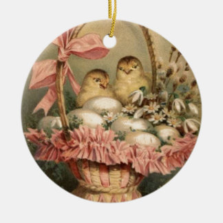 Easter Basket Egg Chick Pink Bow Christmas Ornament