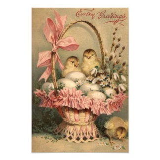 Easter Basket Egg Chick Pink Bow Forget Me Not Art Photo