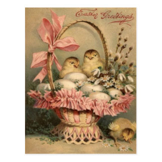 Easter Basket Egg Chick Pink Bow Postcard