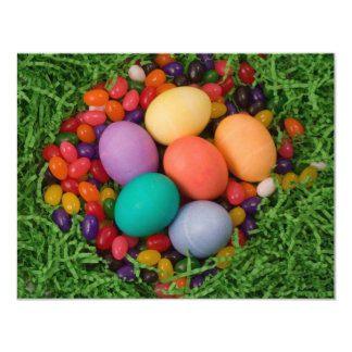 """Easter Basket - Spring Colored Eggs Jelly Beans 4.25"""" X 5.5"""" Invitation Card"""