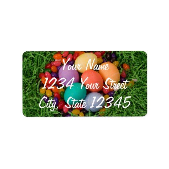 Easter Basket - Spring Coloured Eggs Jelly Beans Address Label