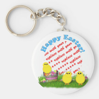 Easter Basket with Baby Chicks Photo Frame Keychains
