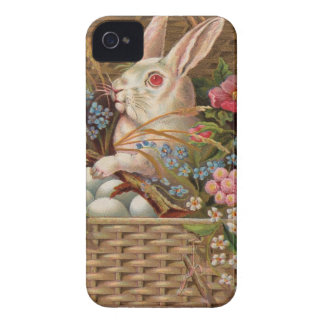 Easter basket with bunny, flowers and eggs iPhone 4 Case-Mate case