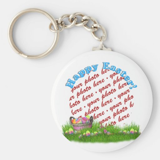 Easter Basket With Colored Eggs Photo Frame Keychain