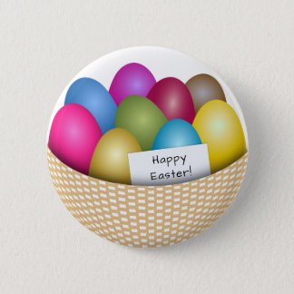 Easter Basket with Colorful Eggs Button