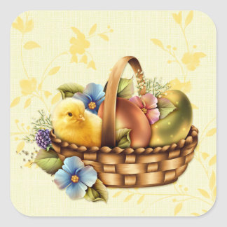 Easter Basket with Eggs and Chick Square Sticker