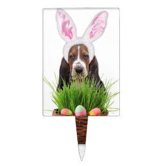 Easter Basset hound Cake Pick