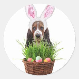 Easter Basset Hound dog Classic Round Sticker