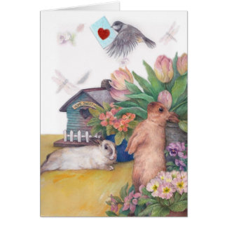 EASTER BIRDIE BUNNY FLORAL BORDER SPRING GREETING GREETING CARD