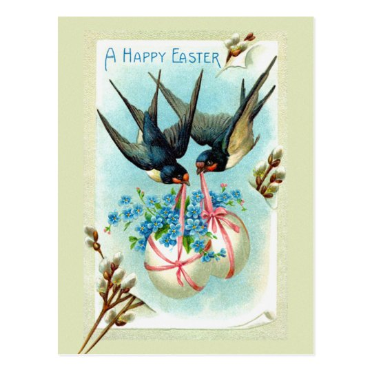 Easter birds postcard