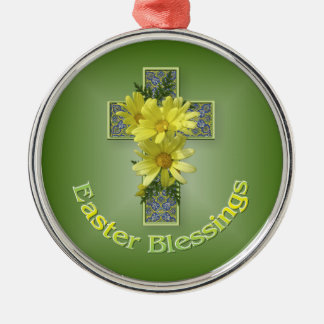Easter Blessings Cross Silver-Colored Round Decoration