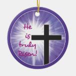 Easter Blessings Cross Starburst on Purple, Risen Round Ceramic Decoration