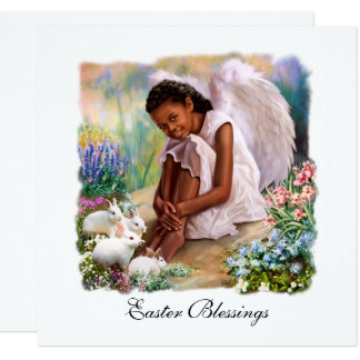Easter Blessings. Little Afro Angel Flat Cards