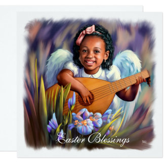 Easter Blessings. Little Afro Angel Flat Cards 13 Cm X 13 Cm Square Invitation Card