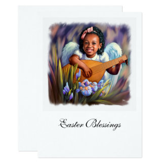 Easter Blessings. Little Afro Angel Flat Cards 13 Cm X 18 Cm Invitation Card