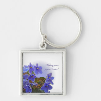 Easter Blue African Violets Silver-Colored Square Key Ring