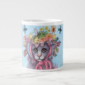 Easter bonnet mug gift, cat in an Easter bonnet