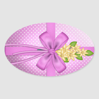 Easter Bow Oval Sticker