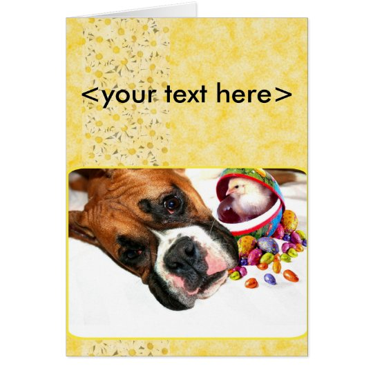 Easter Boxer puppy and Chick greeting card