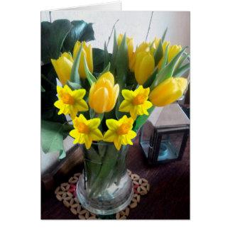 Easter Bright Tulip Daffodil Card